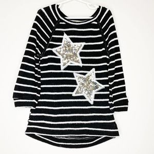 CHANCE OR FATE Black Striped Sequin Stars Sweater